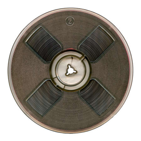 tape recorder: Vintage magnetic audio reel, isolated.