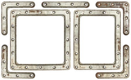 Metal frames with screw holes. photo