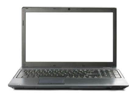 Black laptop with white screen space. Stock Photo - 10341692