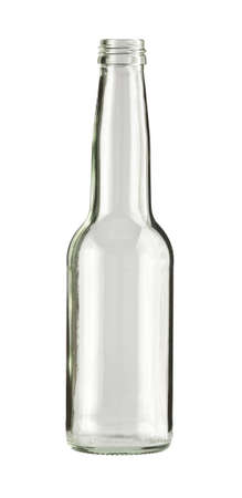 glass bottle: Empty colorless glass bottle, isolated. Stock Photo