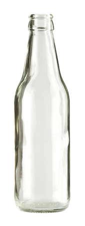 botellas de cerveza: Botella de vidrio incoloro vac�a, aislada.