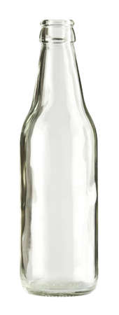 glass containers: Empty colorless glass bottle, isolated. Stock Photo
