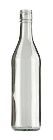 vodka: Empty colorless glass bottle, isolated. Stock Photo