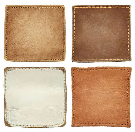 leather background: Blank square shape leather jeans labels.