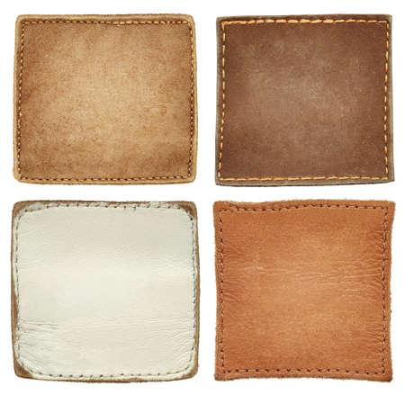 cuir: �tiquettes de jeans de cuir blanc de forme carr�e.