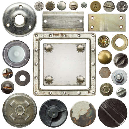 Screw heads, frames and other metal details photo