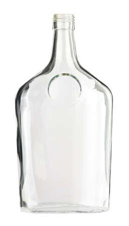 botella de whisky: Botella de vidrio incoloro vacía, aislada.