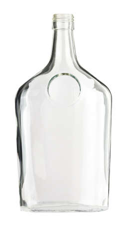 whiskey bottle: Empty colorless glass bottle, isolated. Stock Photo