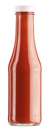 salsa de tomate: botella de ketchup sobre un fondo blanco Foto de archivo