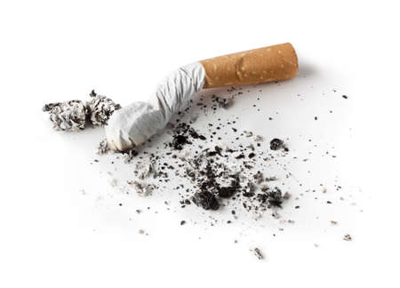 ashtray: Cigarette butt with ash, isolated