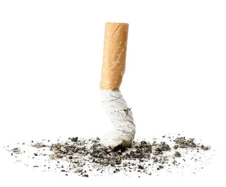 cigarrillos: Tope de cigarrillo con ceniza, aislado Foto de archivo