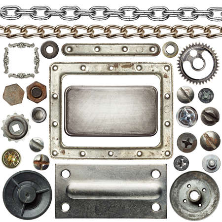 Schroefkoppen, kettingen, frames en andere metalen details Stockfoto