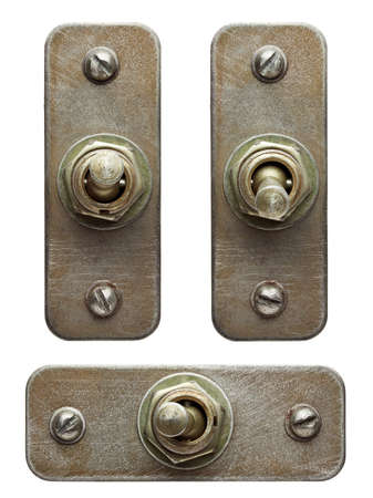 power switch: Aged metal toggle switches set.