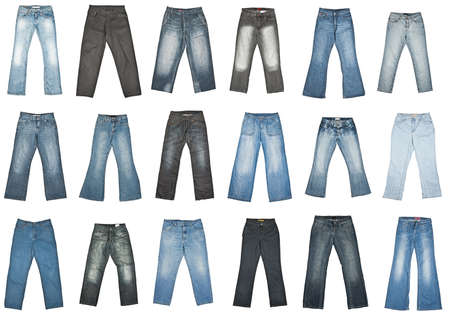 Jeans trousers collection, isolated on white. photo