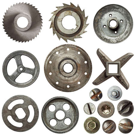 pulleys: Cogwheels, pulleys, screw heads and other metal details Stock Photo