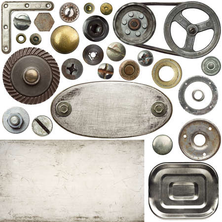 Screw heads, frames and other metal details Stock Photo - 10730258