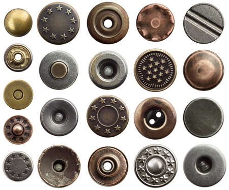 Metal jeans buttons and rivets. photo