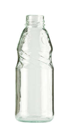 old container: Empty colorless glass bottle, isolated. Stock Photo