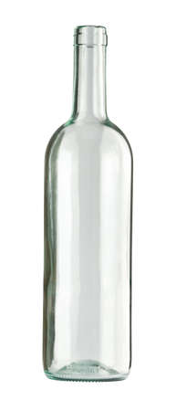 empty bottle: Empty colorless glass bottle, isolated. Stock Photo
