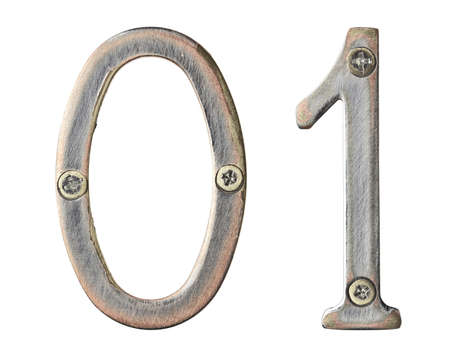 Aged metal numbers with screw heads photo