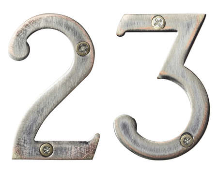 Aged metal numbers with screw heads Stock Photo - 10821746
