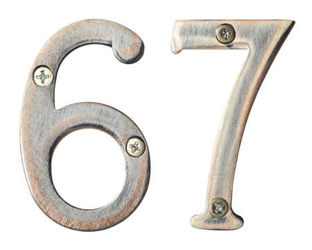 screw heads: Aged metal numbers with screw heads