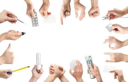 prise de courant: Ensemble de gesticulant et tenant la main des objets. Banque d'images