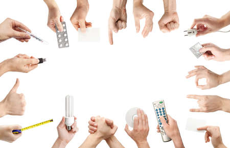 communication tools: Set of gesturing and holding objects hands.