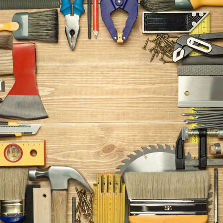 planking: Carpentry tools on a wooden board. Stock Photo