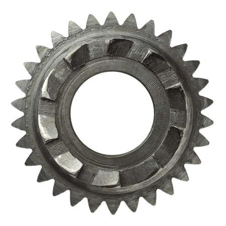 cogwheels: Machine gear, metal cogwheel. Isolated on white.