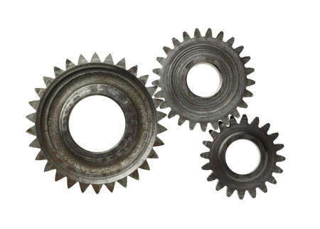 Machine gear, metal cogwheels. Isolated on white. Stock Photo - 10993306