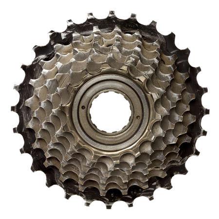 machine teeth: Bicycle gear, metal cogwheel. Isolated on white.