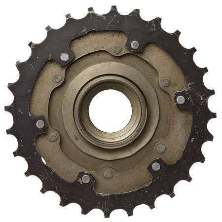 rusty: Bicycle gear, metal cogwheel. Isolated on white.