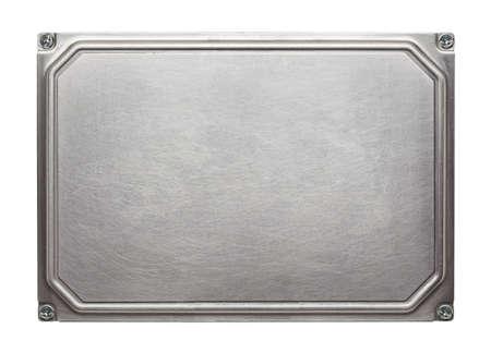Textura da placa de metal com parafusos. Banco de Imagens