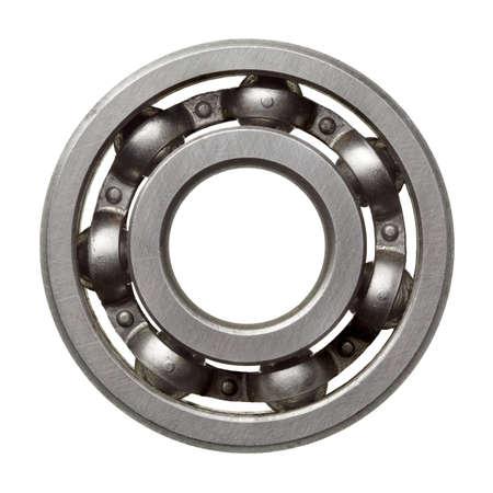 Used metal ball bearing, isolated. photo