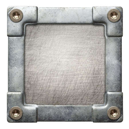 screw heads: Metal plate texture with screwed frame.
