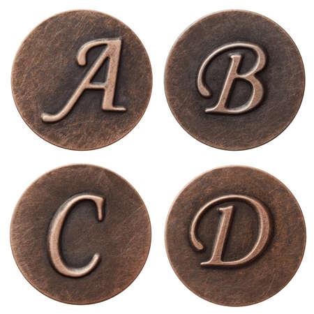 Aged metal vintage alphabet letters. photo