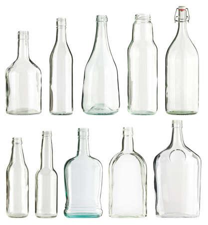 bouteille champagne: Videz le verre des bouteilles de collecte, isol� Banque d'images