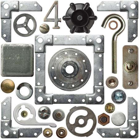 herramientas de construccion: Cabezas de los tornillos, marcos y otros detalles de metal