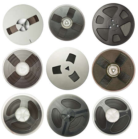 Vintage magnetic audio reels collection. photo