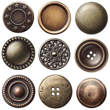 coser: Vintage botones de coser de metal, aisladas Foto de archivo