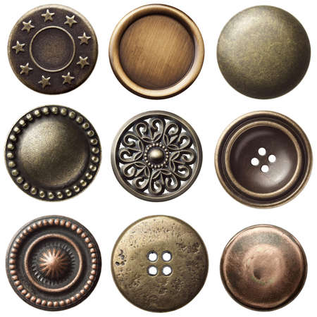 Vintage metal sewing buttons, isolated Stock Photo - 10993376
