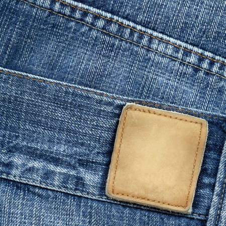 Blue jeans with blank leather label Stock Photo - 11143269