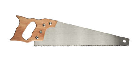Hand saw for wood work. Stock Photo