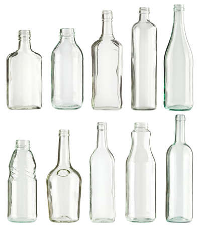 glass containers: Empty glass bottles collection, isolated