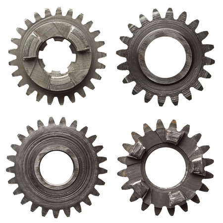bolts and nuts: Machine gear, metal cogwheels. Isolated on white. Stock Photo