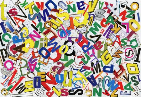 news paper: Handmade alphabet collage of magazine letters Stock Photo