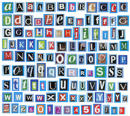 newsprint: Newspaper, magazine alphabet with letters, numbers.