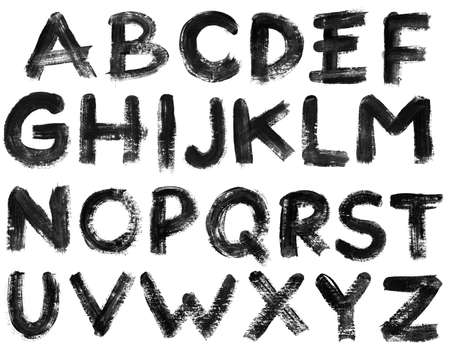 written text: Hand drawn alphabet letters set, isolated. Stock Photo