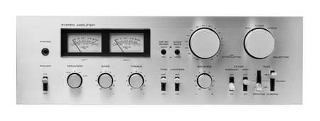 hifi: Sound amplifier front panel, isolated.